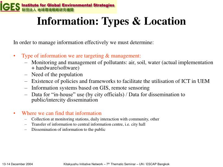 Information: Types & Location