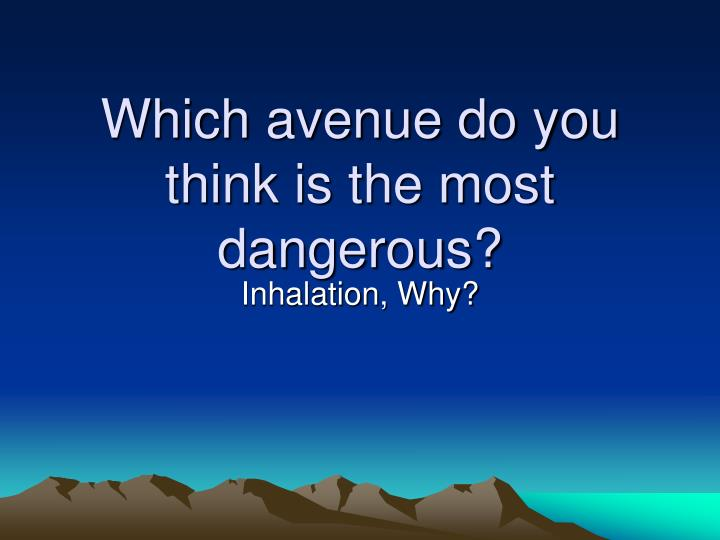 Which avenue do you think is the most dangerous?