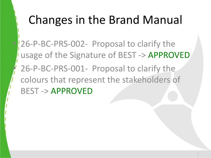 Changes in the Brand Manual
