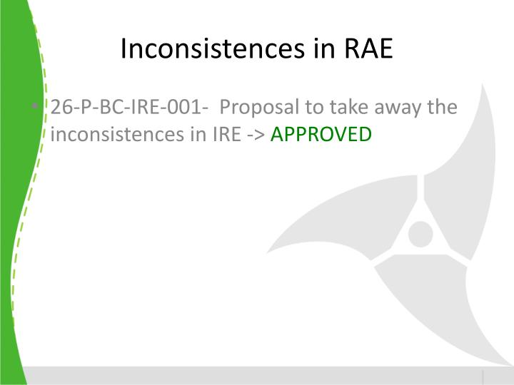Inconsistences in RAE
