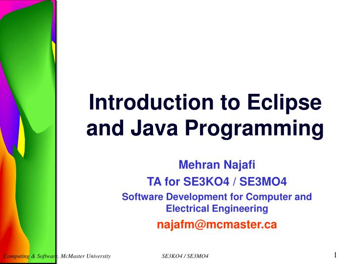 introduction to eclipse and java programming n.