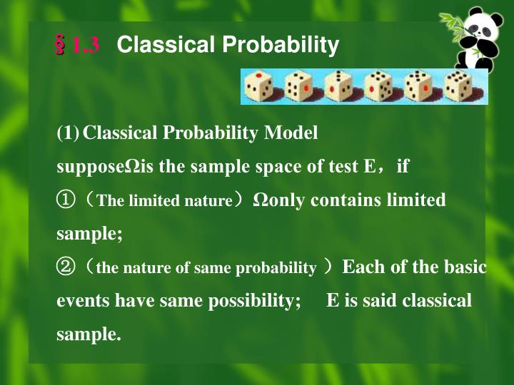 1 3 classical probability