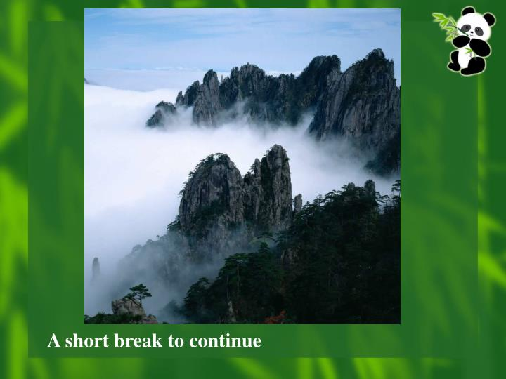 A short break to continue