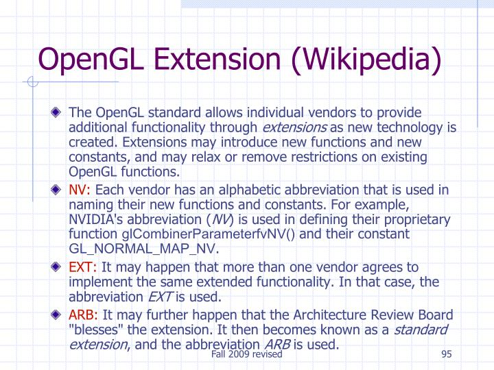 OpenGL Extension (Wikipedia)