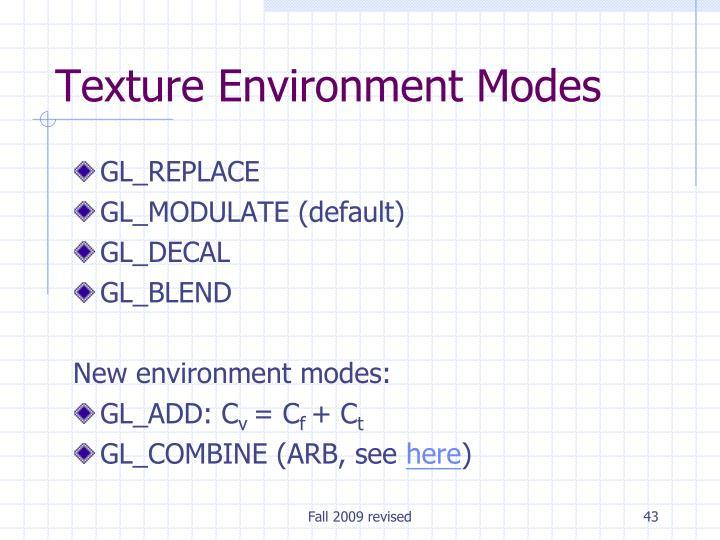 Texture Environment Modes
