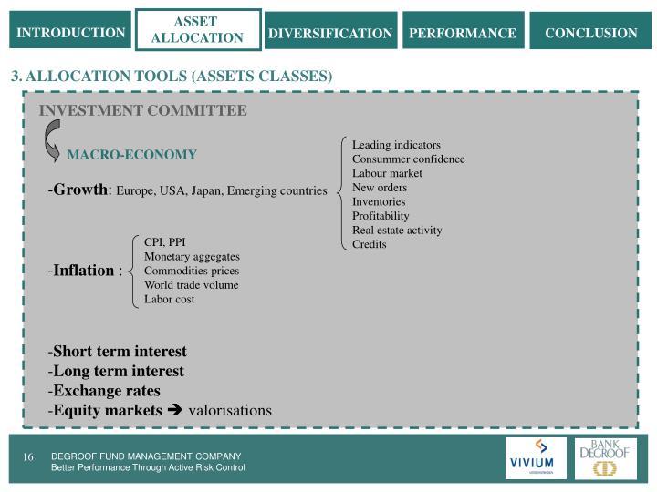 3. ALLOCATION TOOLS (ASSETS CLASSES)
