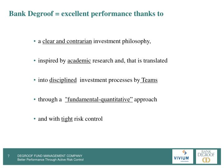 Bank Degroof = excellent performance thanks to
