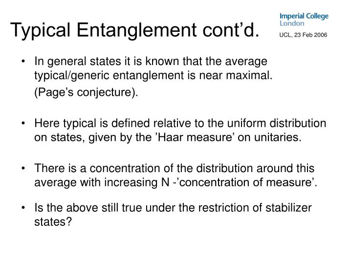 Typical Entanglement cont'd.