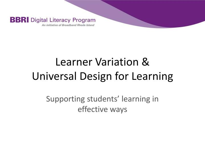 learner variation universal design for learning n.