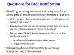 questions for eac justification