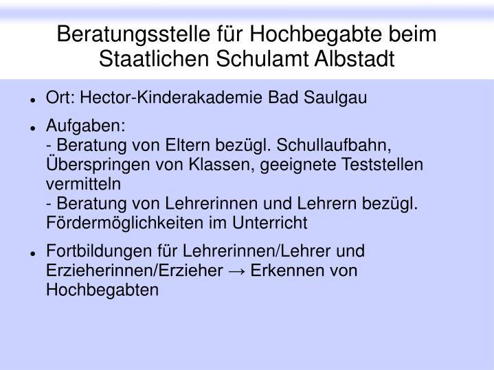 Beratungsstelle für Hochbegabte beim Staatlichen Schulamt Albstadt