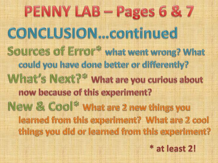 PENNY LAB – Pages 6 & 7