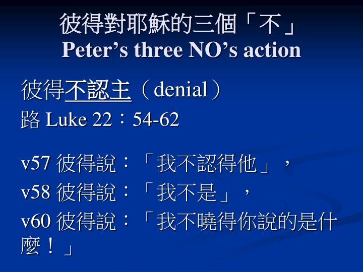 彼得對耶穌的三個「不」