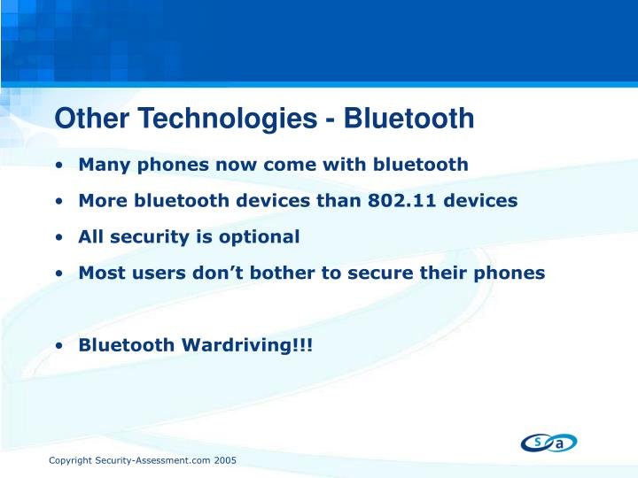 Other Technologies - Bluetooth