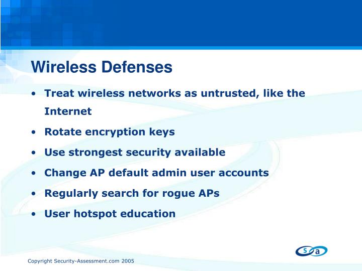 Wireless Defenses