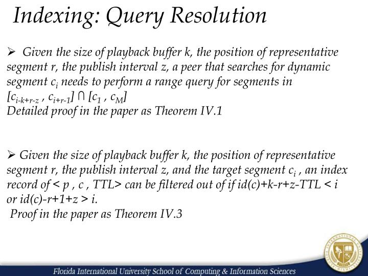 Indexing: Query Resolution