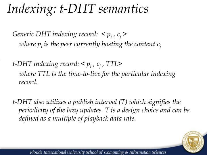 Indexing: t-DHT semantics
