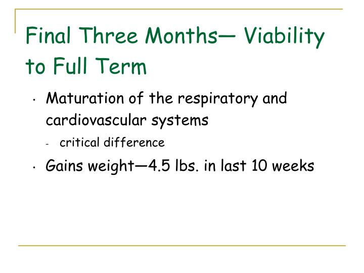 Final Three Months— Viability to Full Term