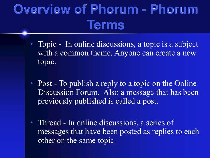 Overview of Phorum - Phorum Terms