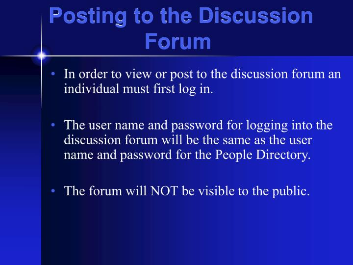 Posting to the Discussion Forum