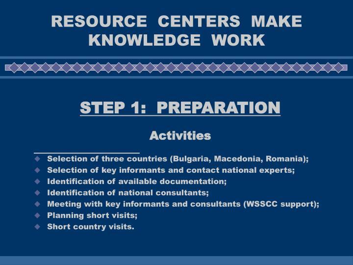 Resource centers make knowledge work1