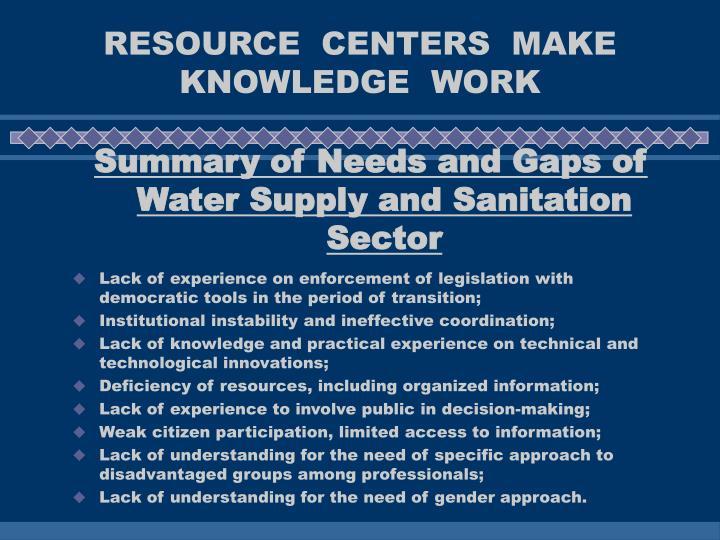 RESOURCE  CENTERS  MAKE  KNOWLEDGE  WORK
