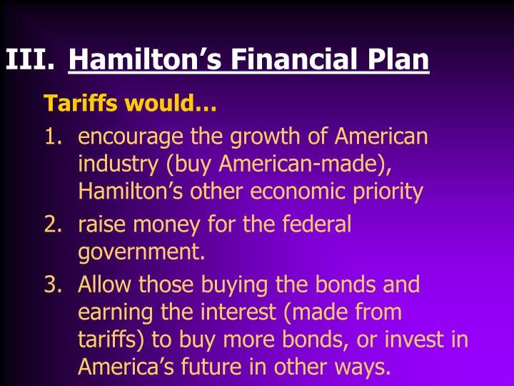 under hamiltons financial plan