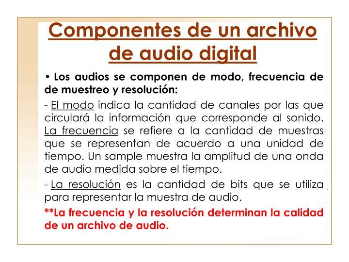 Componentes de un archivo de audio digital