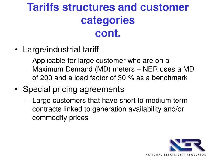 Tariffs structures and customer categories