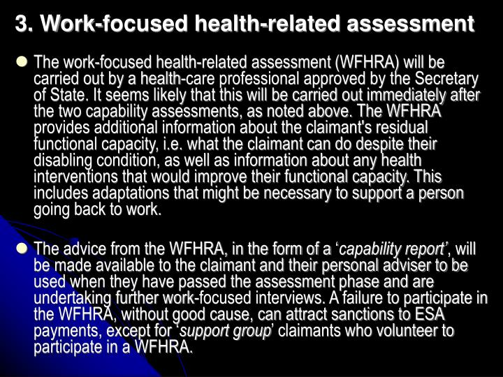 3. Work-focused health-related assessment