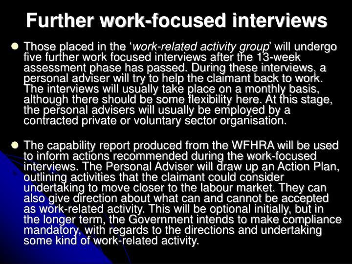 Further work-focused interviews