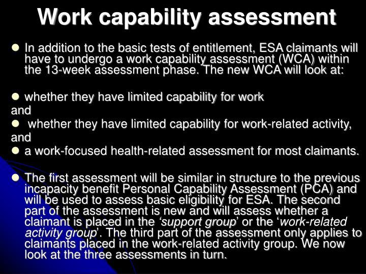 Work capability assessment
