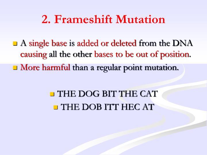 2. Frameshift Mutation