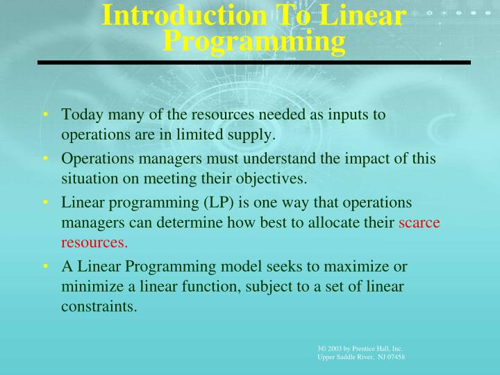 Introduction to linear programming1
