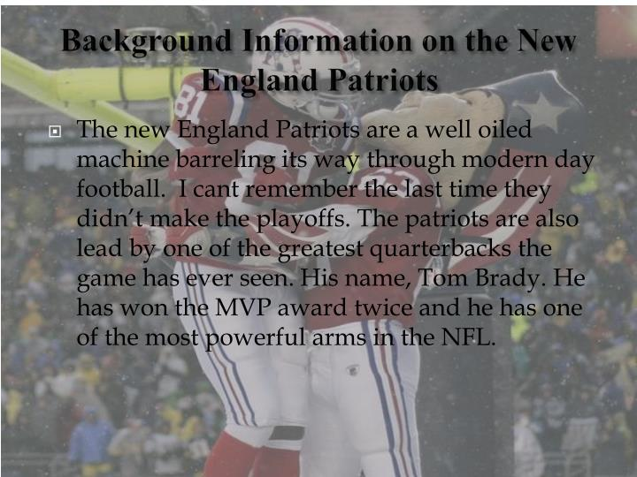 Background information on the new england patriots