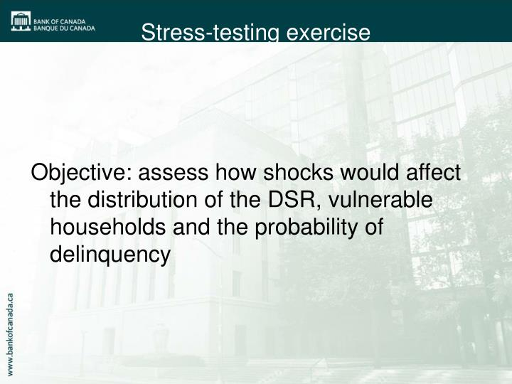 Objective: assess how shocks would affect the distribution of the DSR, vulnerable households and the probability of delinquency