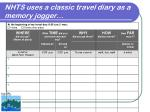 nhts uses a classic travel diary as a memory jogger