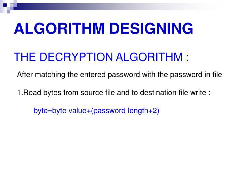 ALGORITHM DESIGNING