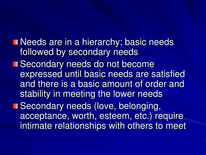 Needs are in a hierarchy; basic needs followed by secondary needs