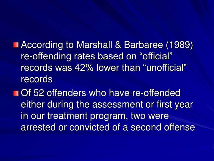 "According to Marshall & Barbaree (1989) re-offending rates based on ""official"" records was 42% lower than ""unofficial"" records"
