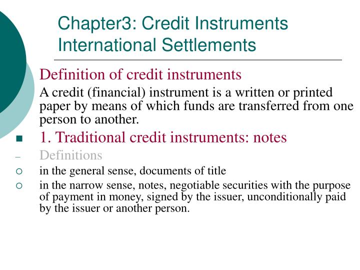 chapter3 credit instruments international settlements n.