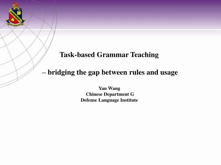 Task-based Grammar Teaching
