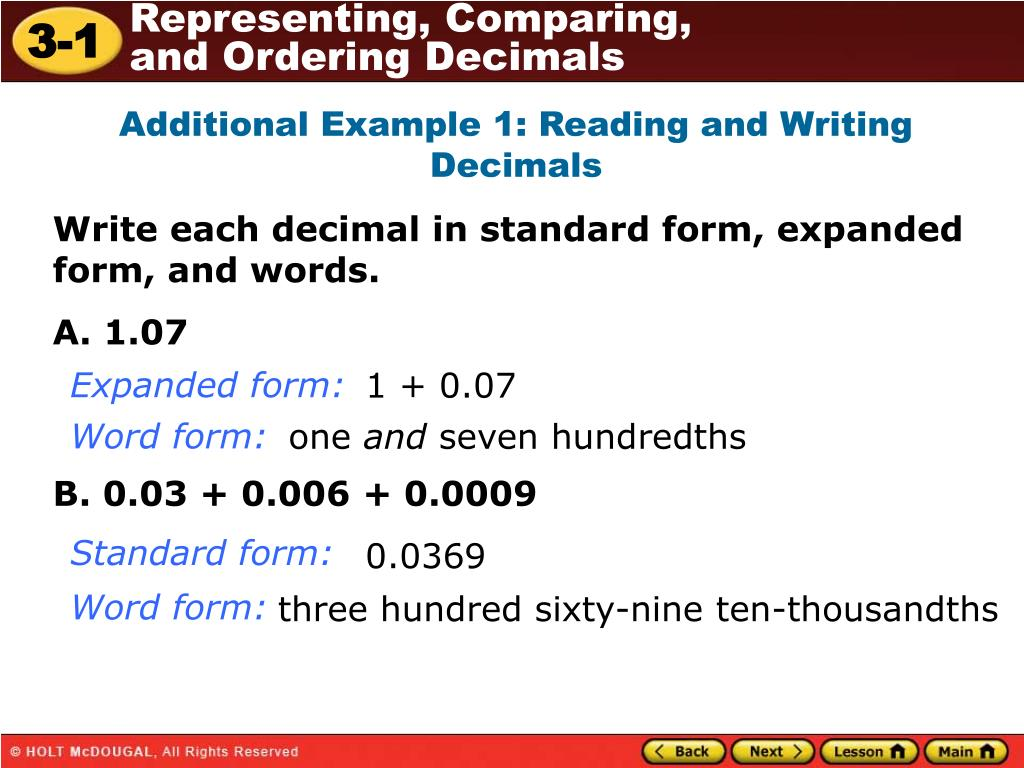 Ppt Additional Example 1 Reading And Writing Decimals Powerpoint