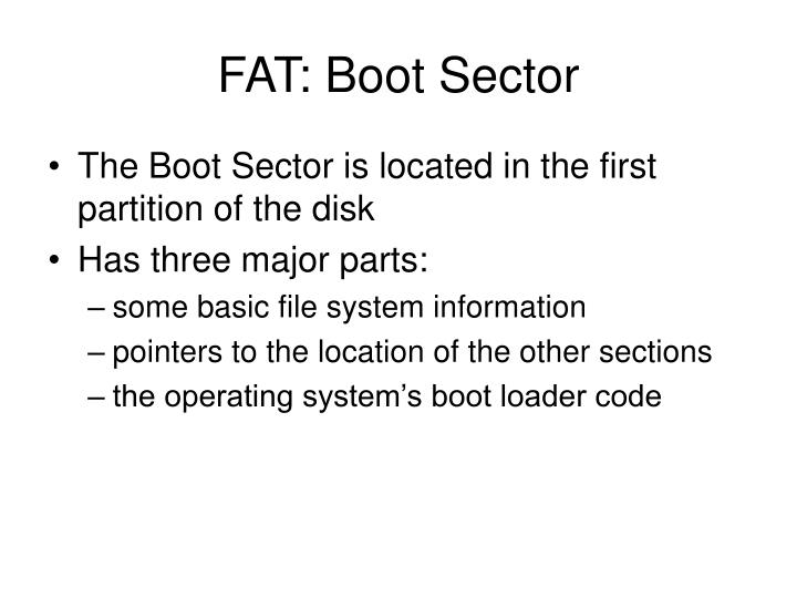 FAT: Boot Sector