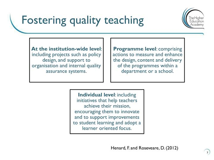 Fostering quality teaching
