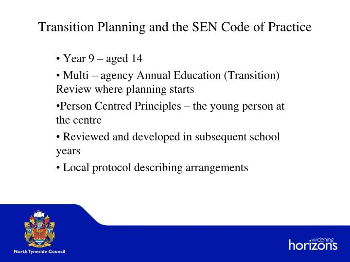 Transition planning and the sen code of practice