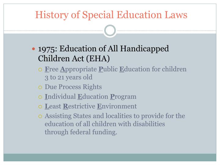 History of Special Education Laws
