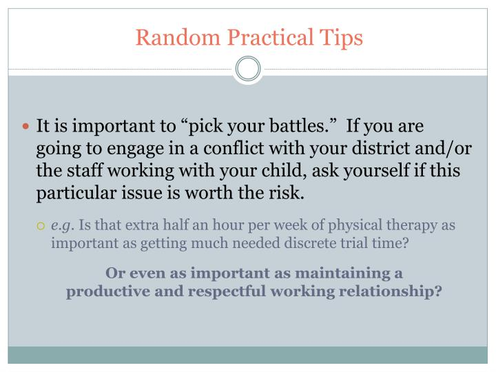 Random Practical Tips
