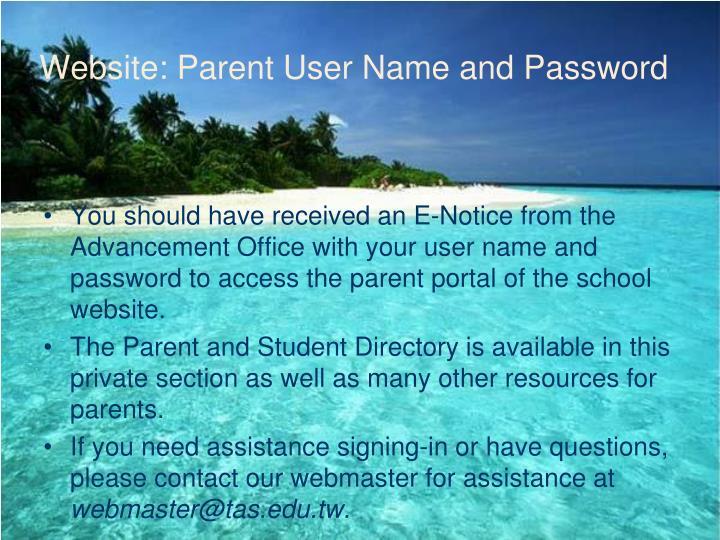 Website: Parent User Name and Password