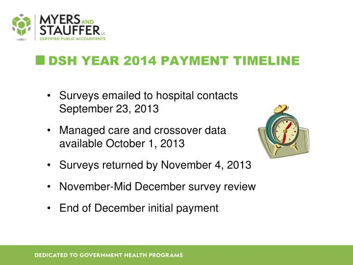 DSH Year 2014 payment Timeline